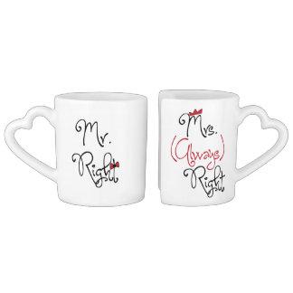 Mr.Right y Mrs.Always personalizados a la derecha Tazas Amorosas