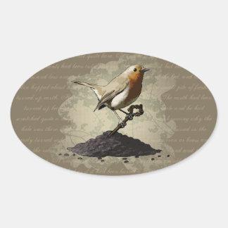 Mr. Robin Finds the Key, oval stickers Oval Sticker