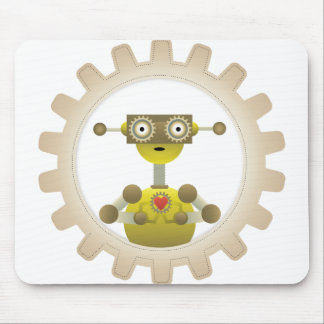 Mr. Robot with Steampunk Gear Heart Mouse Pad