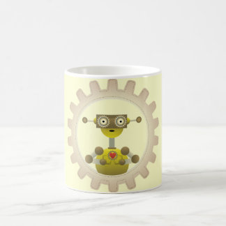 Mr. Robot with Steampunk Gear Heart Coffee Mugs