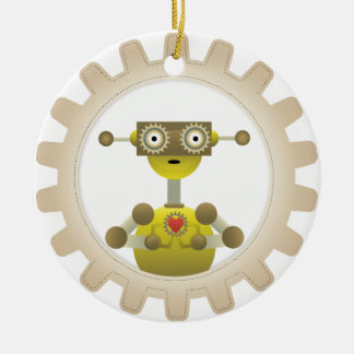 Mr. Robot with Steampunk Gear Heart Ornament Round