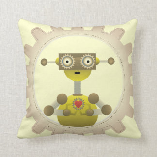 Mr. Robot with Steampunk Gear Heart Pillow