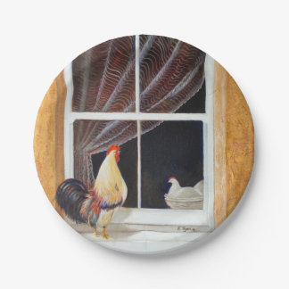 Mr. Rooster comes a courting Paper Plate