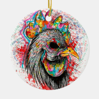 Mr. Rooster Double-Sided Ceramic Round Christmas Ornament