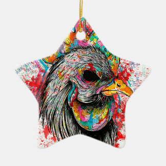 Mr. Rooster Double-Sided Star Ceramic Christmas Ornament