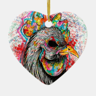 Mr. Rooster Double-Sided Heart Ceramic Christmas Ornament
