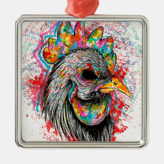 Mr. Rooster Square Metal Christmas Ornament