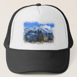 Mr Rundle and Hotel, Banff, Alta, Canada Trucker Hat