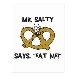 Mr Salty Says Eat Me Pretzel Gift Postcard