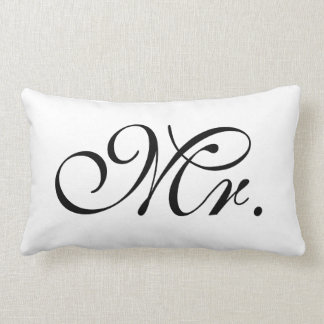 Mr Scroll Text In Black And White Lumbar Pillow