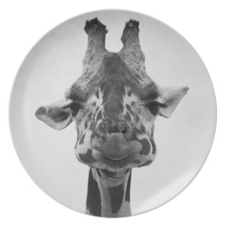 Mr. Serious Giraffe Black & White Photography Dinner Plate