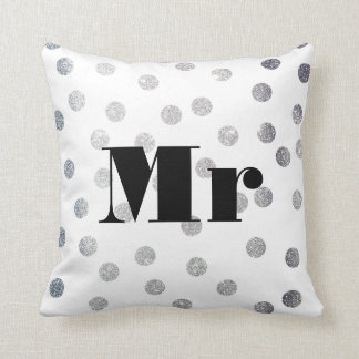 Mr Silver Glitter Dots Reversible Black and White Pillow