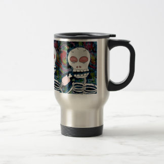 Mr. Skeleton Eats Meat 15 Oz Stainless Steel Travel Mug
