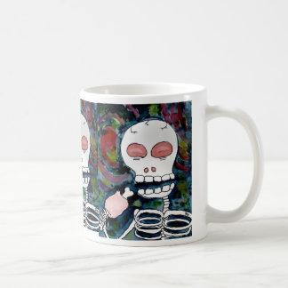 Mr. Skeleton Eats Meat Classic White Coffee Mug