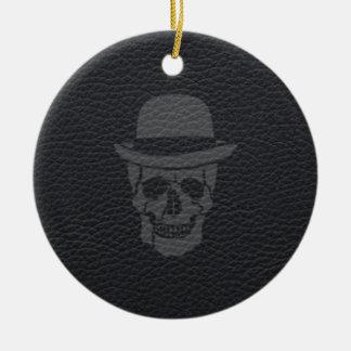 Mr. Skull on black leather Ceramic Ornament