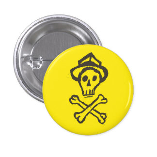 Mr. Skullington - Lemon Yellow 1 Inch Round Button