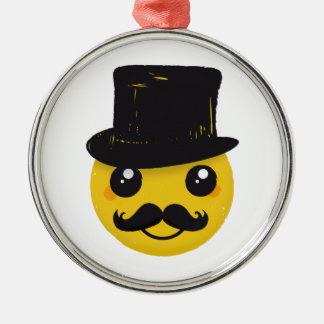 Mr Smiley Mustache Metal Ornament