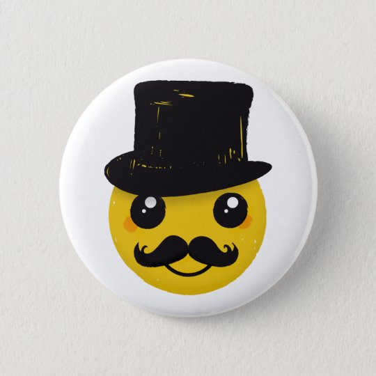 Mr Smiley Mustache Pinback Button