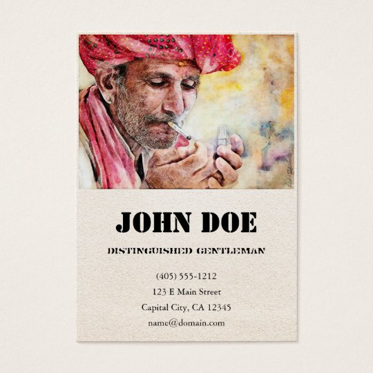 Mr. Smoker classic watercolor portrait painting 2 Business Card