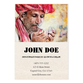 Mr. Smoker classic watercolor portrait painting 2 Large Business Card