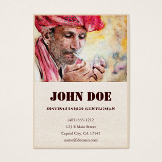 Mr. Smoker classic watercolor portrait painting Business Card