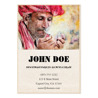 Mr. Smoker classic watercolor portrait painting Large Business Card