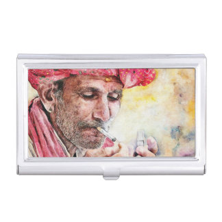 Mr. Smoker cool watercolor portrait painting ART Case For Business Cards