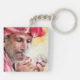Mr. Smoker cool watercolor portrait painting Keychain