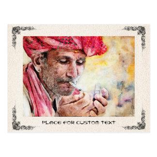 Mr. Smoker cool watercolor portrait painting Postcard