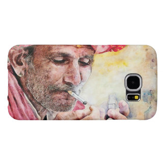 Mr. Smoker cool watercolor portrait painting Samsung Galaxy S6 Case