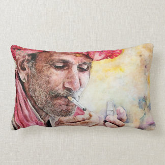 Mr.Smoker digital watercolor portrait painting Throw Pillows