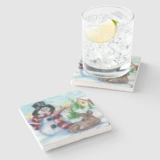 Mr. Snowman Stone Beverage Coaster