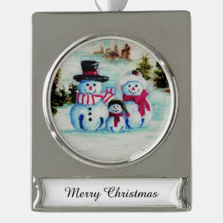 Mr. Snowman Silver Plated Banner Ornament
