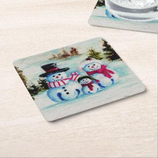 Mr. Snowman Square Paper Coaster