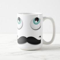 mustache, mr. stache, funny, stache, humor, memes, mug, moustache, retro, cute, vintage, cool, story, bro, question, classic mugs, old school, fashion, nice, internet memes, classic white mug, Caneca com design gráfico personalizado