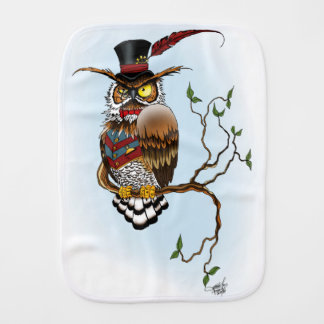 Mr. Steam Owl Burp Cloth