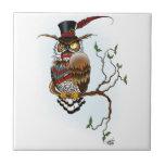 "Mr. Steam Owl Ceramic Tile<br><div class=""desc"">Steampunk horned owl sitting on a tree branch</div>"