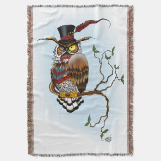 Mr. Steam Owl Throw Blanket