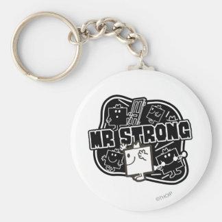 Mr. Strong   Black & White Basic Round Button Keychain