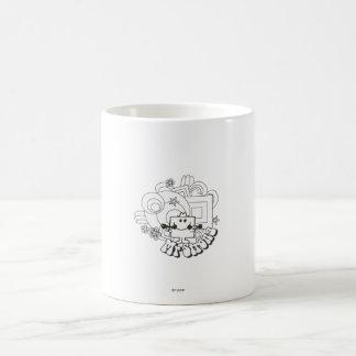 Mr. Strong   Black & White Stars & Flowers Classic White Coffee Mug