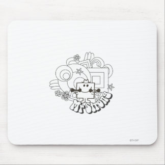 Mr. Strong   Black & White Stars & Flowers Mouse Pad