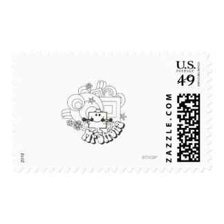 Mr. Strong | Black & White Stars & Flowers Postage