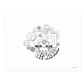 Mr. Strong | Black & White Stars & Flowers Postcard