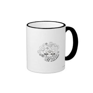 Mr. Strong   Black & White Stars & Flowers Ringer Coffee Mug