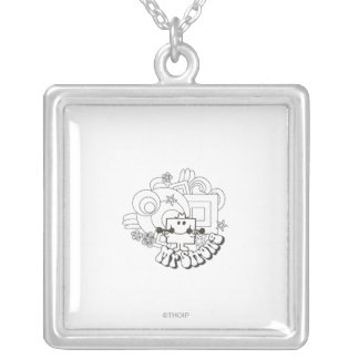 Mr. Strong | Black & White Stars & Flowers Silver Plated Necklace
