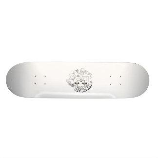 Mr. Strong   Black & White Stars & Flowers Skateboard
