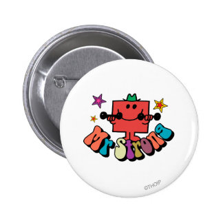 Mr. Strong   Colorful Lettering & Stars 2 Inch Round Button