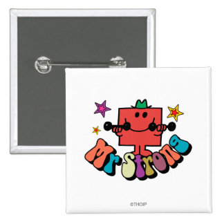 Mr. Strong   Colorful Lettering & Stars 2 Inch Square Button