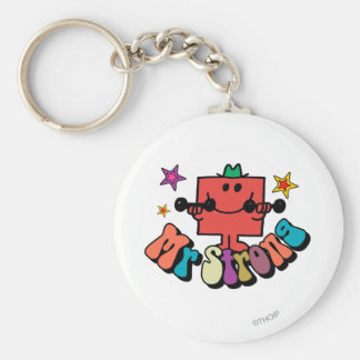 Mr. Strong   Colorful Lettering & Stars Basic Round Button Keychain