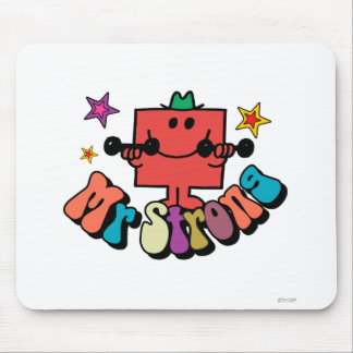 Mr. Strong   Colorful Lettering & Stars Mouse Pad